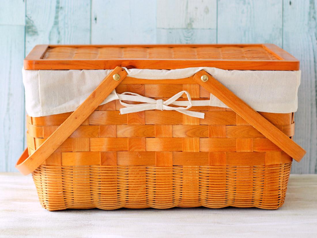 木製 蓋付きバスケット(大)