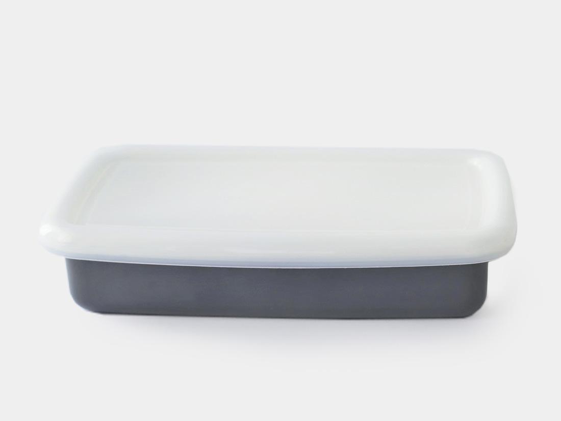 cotta 琺瑯 角バット21cm グレー