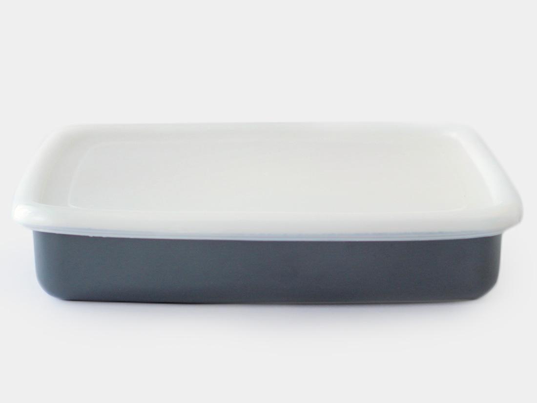 cotta 琺瑯 角バット30cm グレー