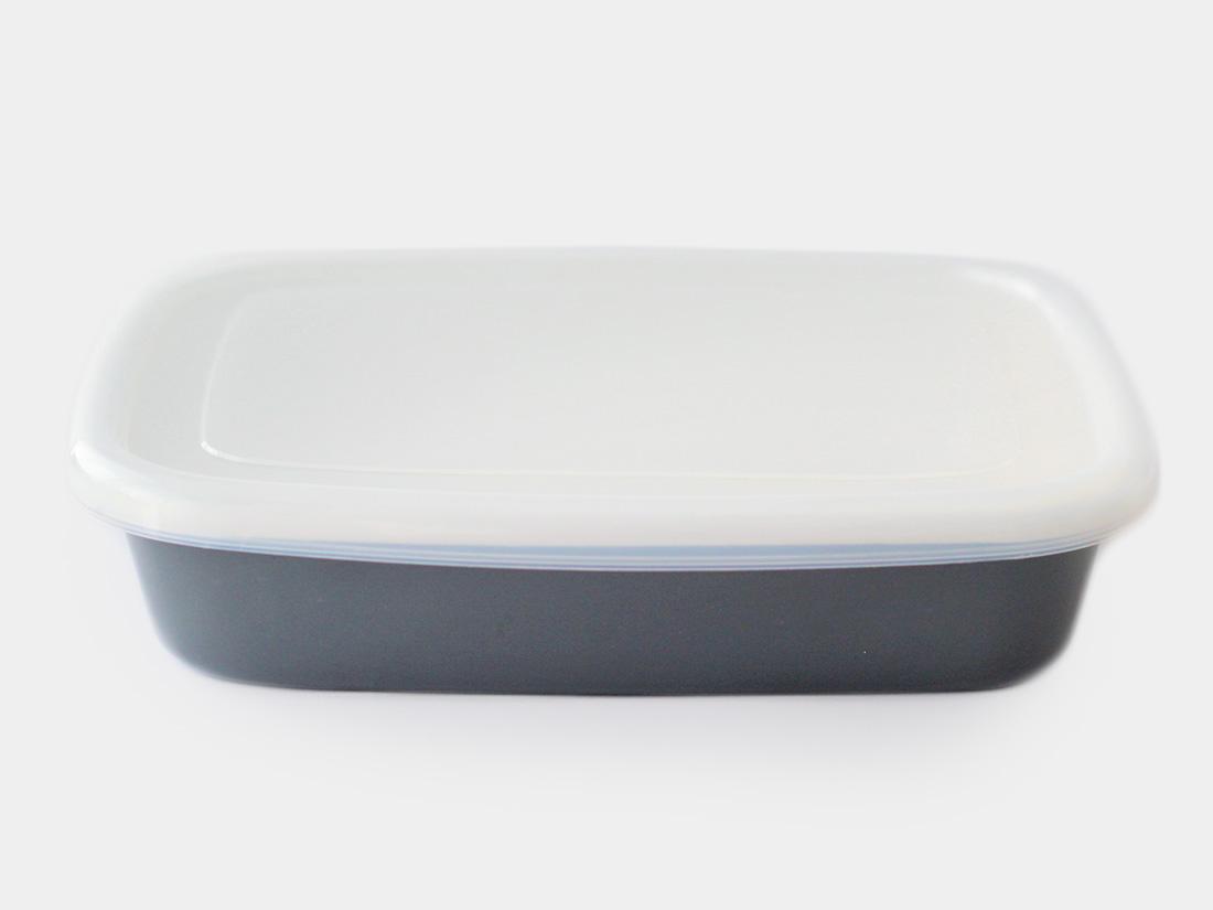 cotta 琺瑯 角バット24cm グレー