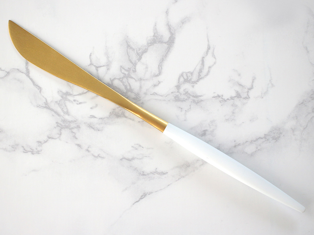 ディナーナイフ(ホワイト×ゴールド)