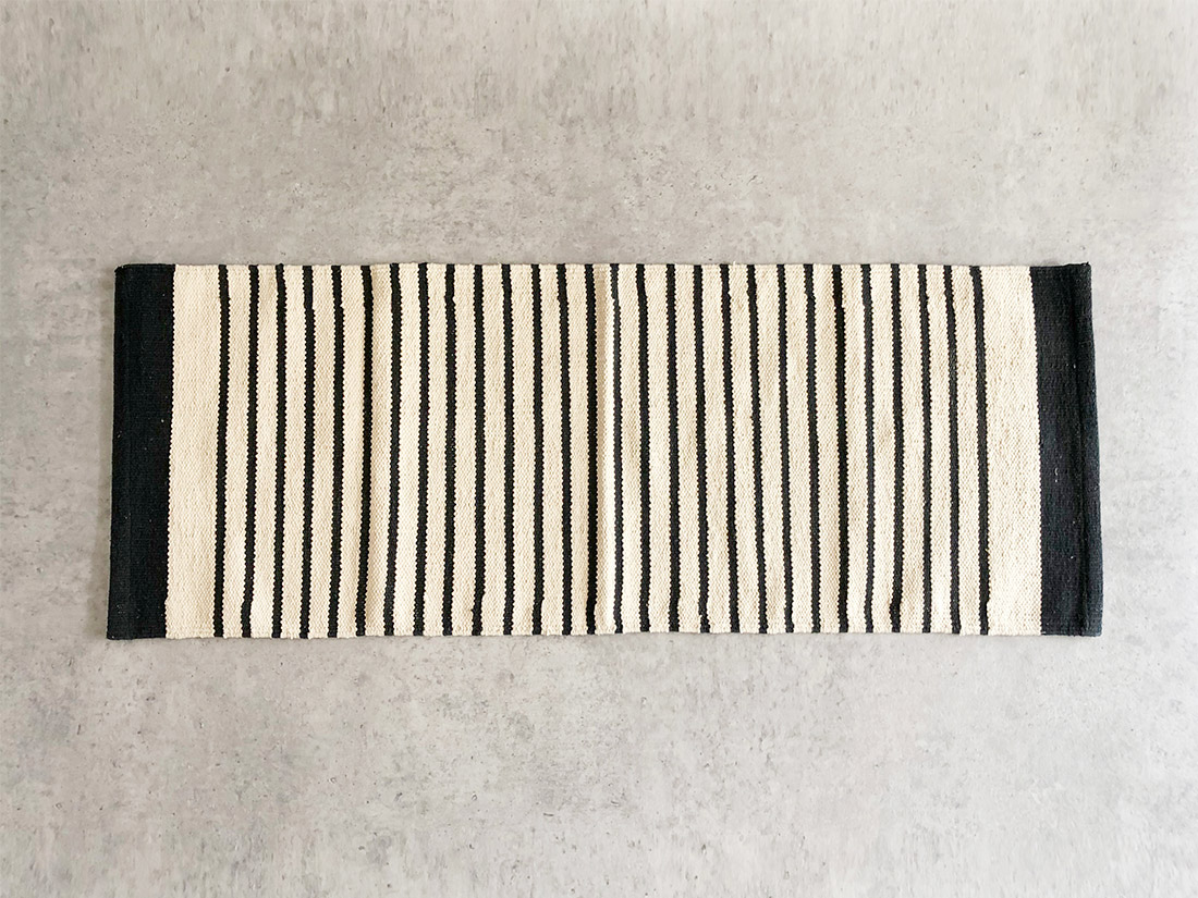 cotta キッチンマット ストライプ ブラック 45×120