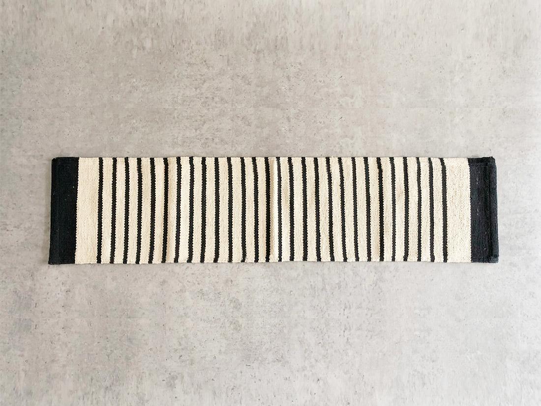 cotta キッチンマット ストライプ ブラック 45×180