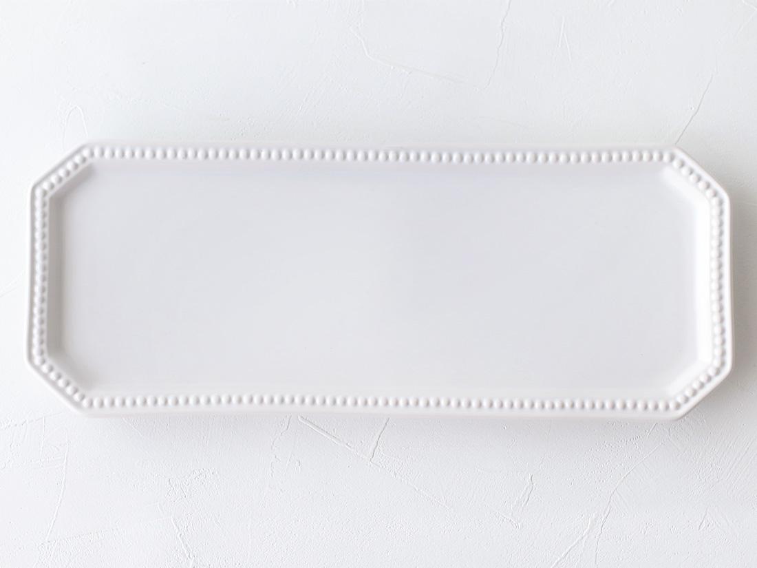 陶器 皿 八角ドットリム ロング