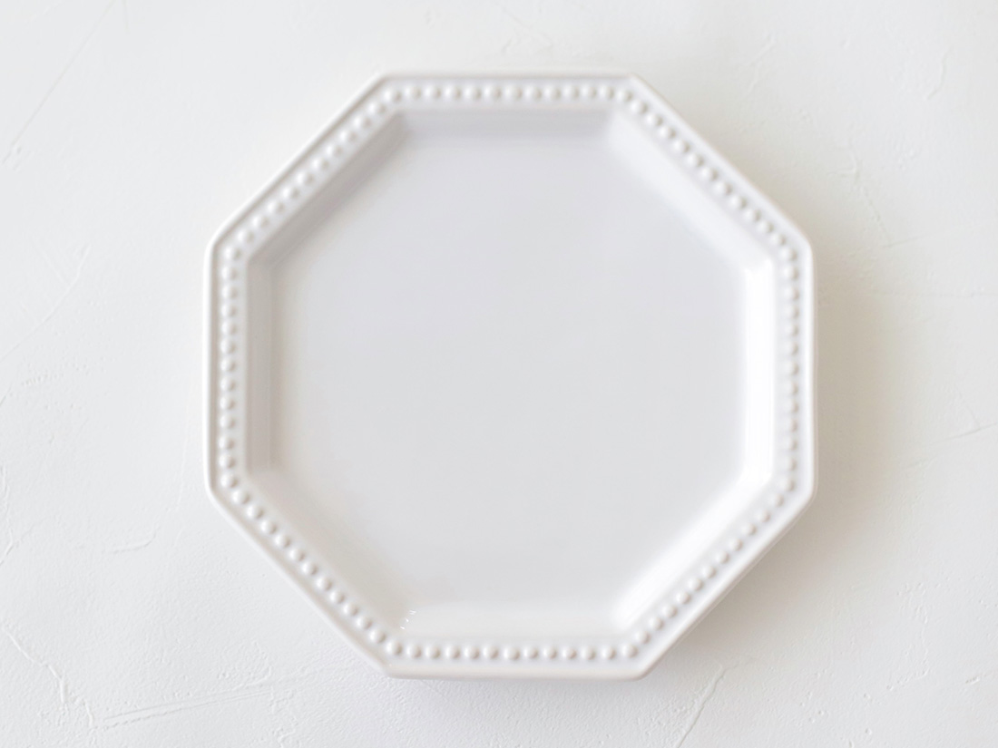 陶器 皿 八角ドットリム 小