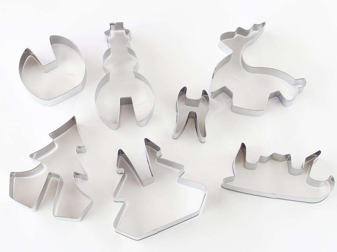 3Dクッキー型 クリスマス(ツリー・そり・スノーマン)