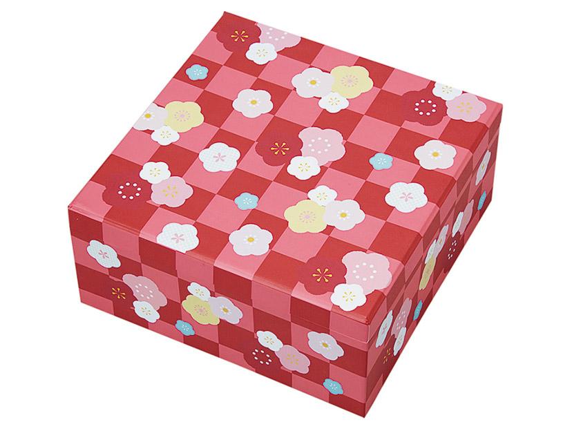 梅柄重箱・赤