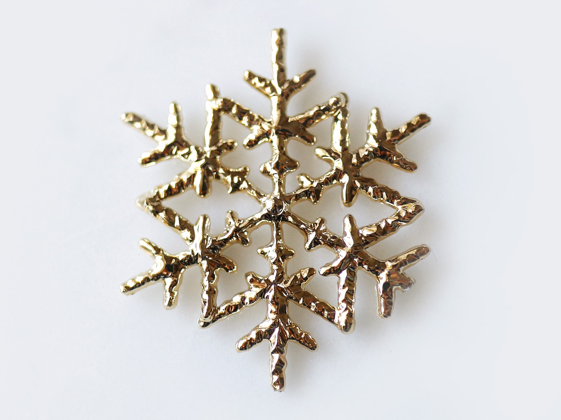 ケーキピック 雪の結晶(ゴールド)