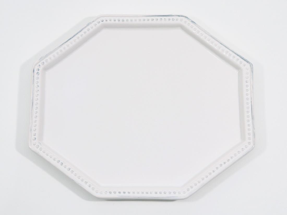 陶器 皿 八角ドットリム(白)